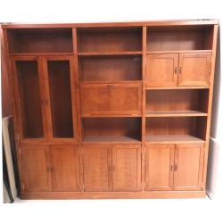 LIBRERIA MODERNA COLOR CEREZO 245 X 35 X 217